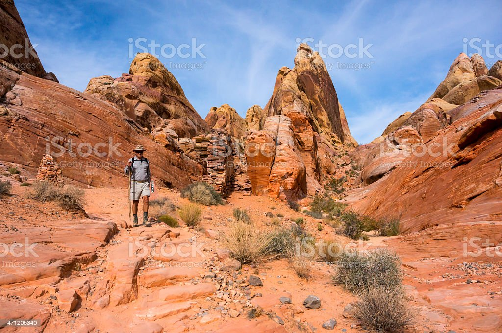 Hiking in The Valley Of Fire stock photo
