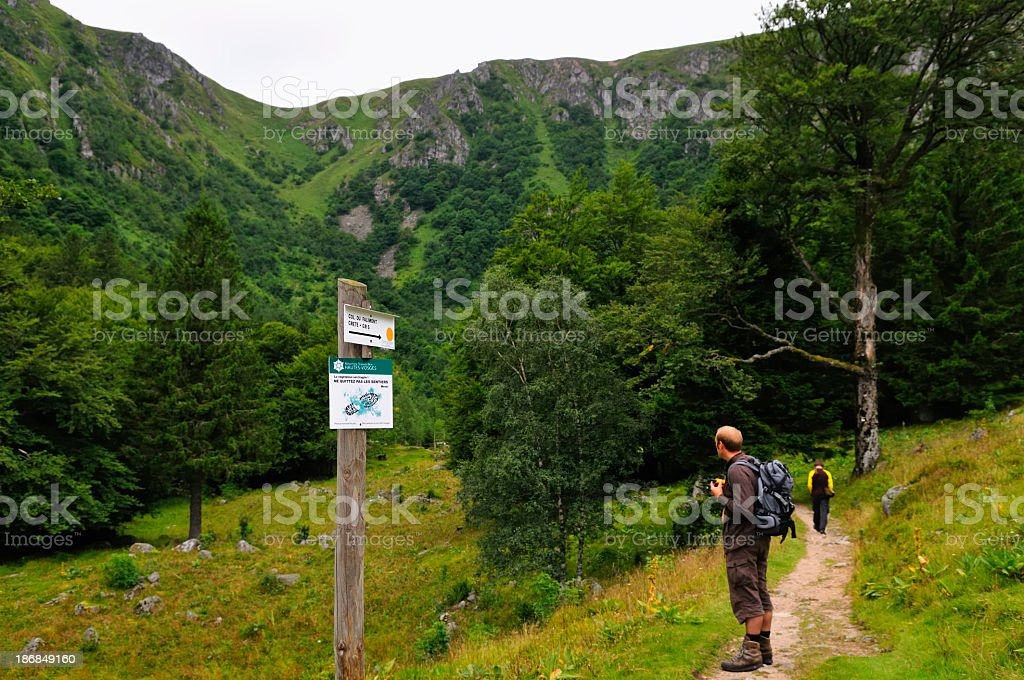Hiking in the Vosges Mountains stock photo