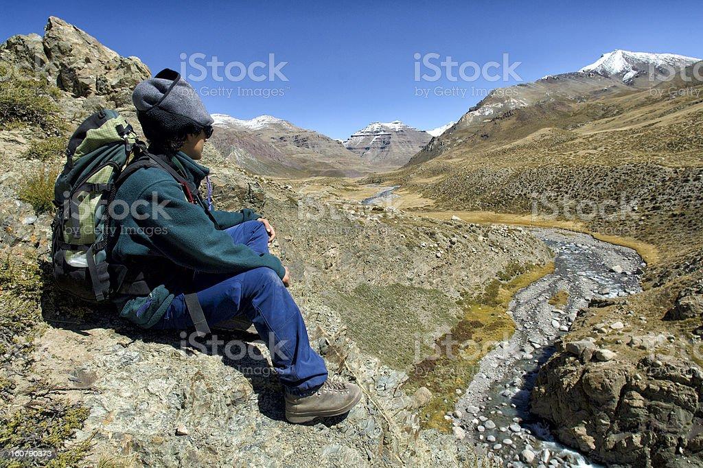 Hiking in Tibet stock photo