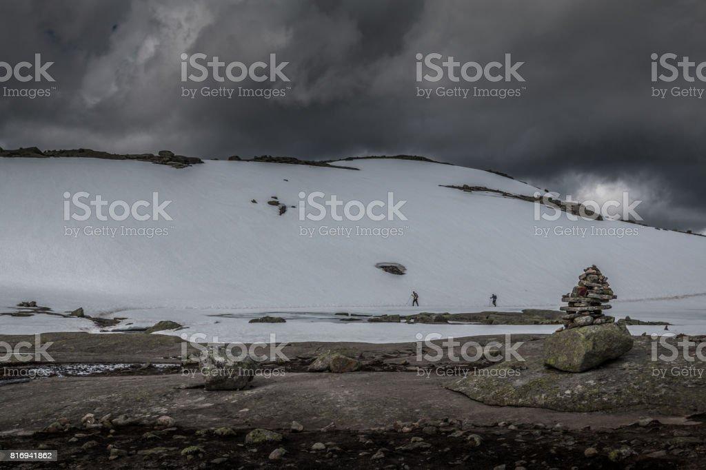 Hiking in Trolltunga Norway stock photo
