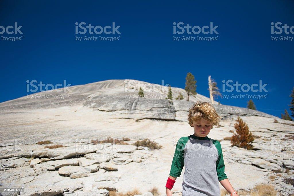Hiking in Tuolumne Meadows stock photo
