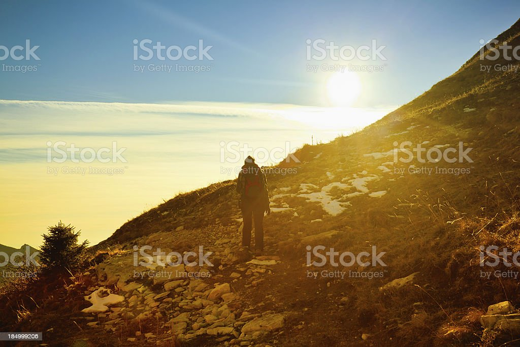 Hiking in Wild Mountains royalty-free stock photo
