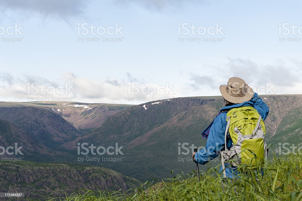 Hiking in wilderness area stock photo