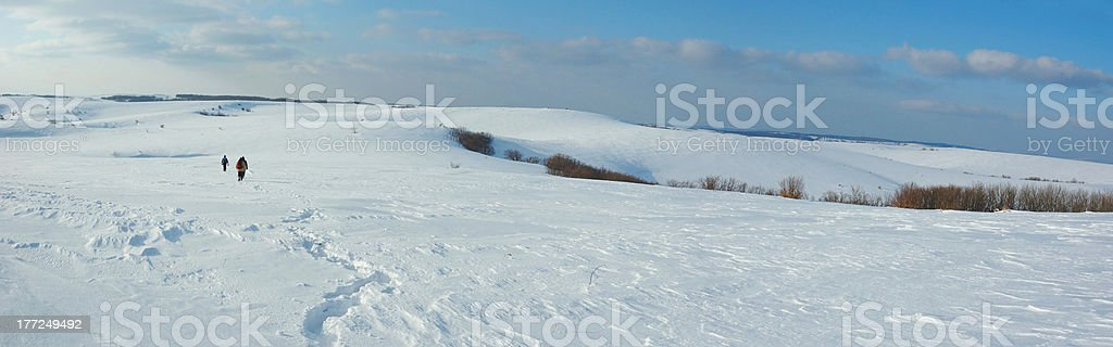 Hiking in winter Crimea mountains, Karabi plateau,Ukraine royalty-free stock photo