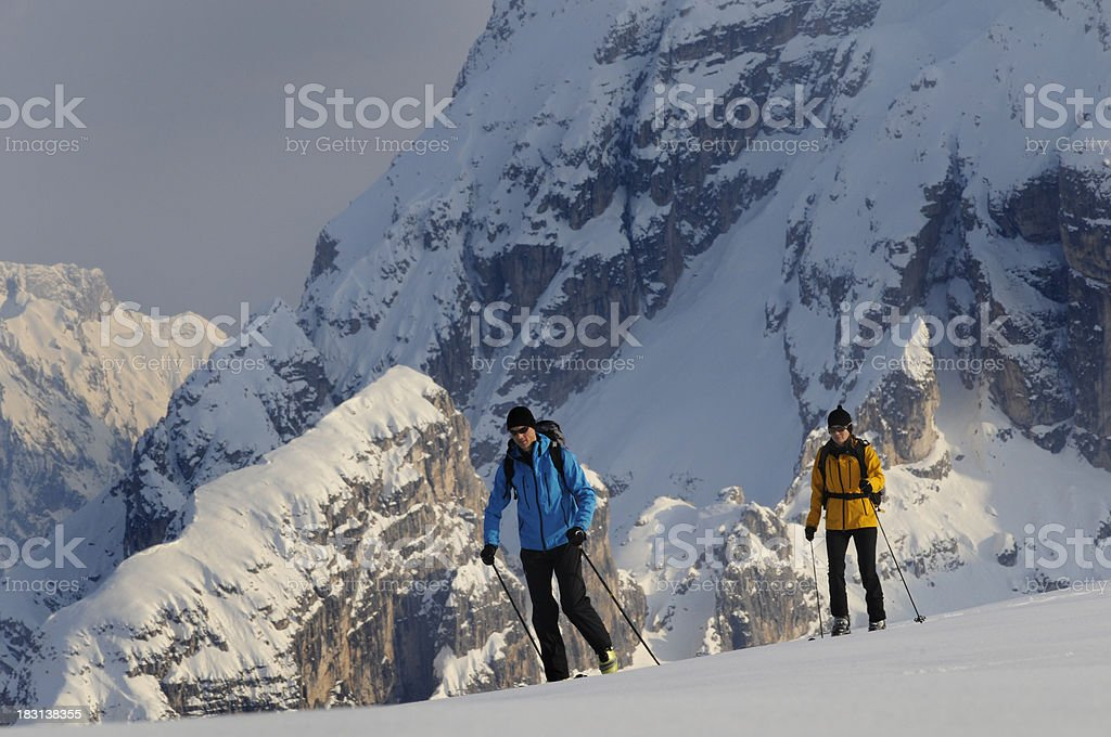 hiking in winter sports royalty-free stock photo