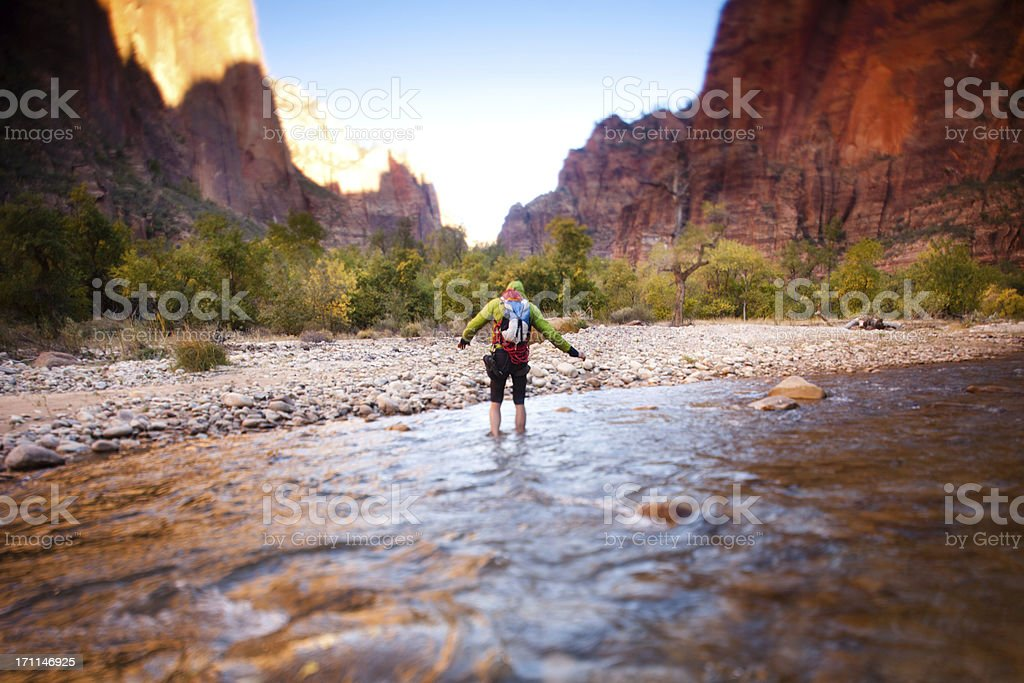Hiking in Zion National Park stock photo