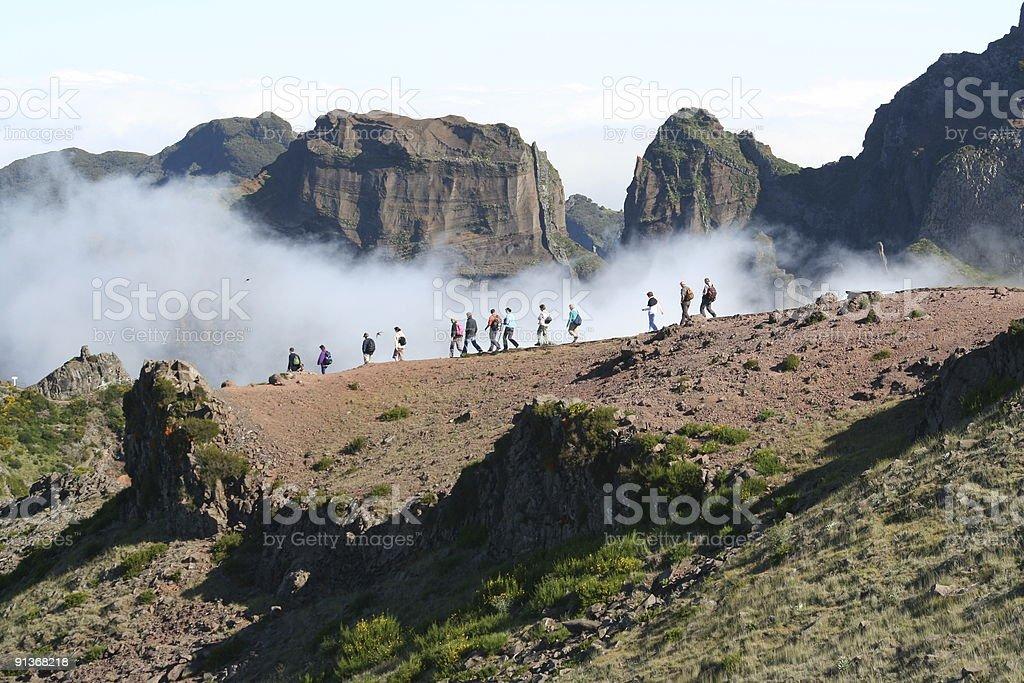 hiking into the clouds! Pico ruivo madeira stock photo