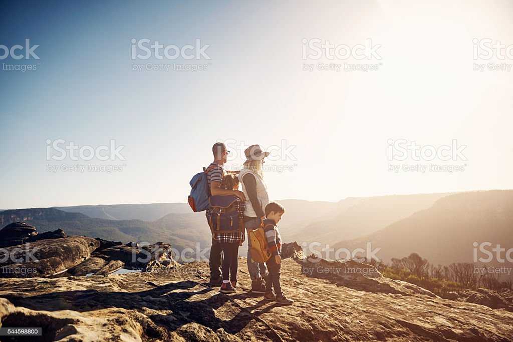 Hiking is better when you share it your family stock photo