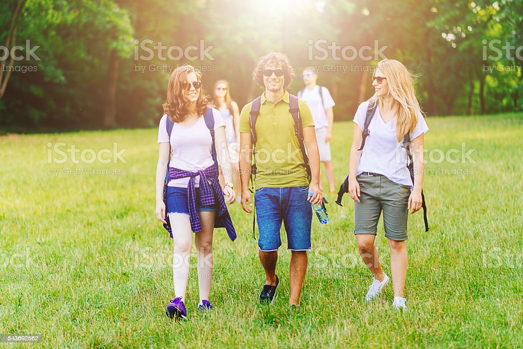 Hiking is good for health and well being stock photo