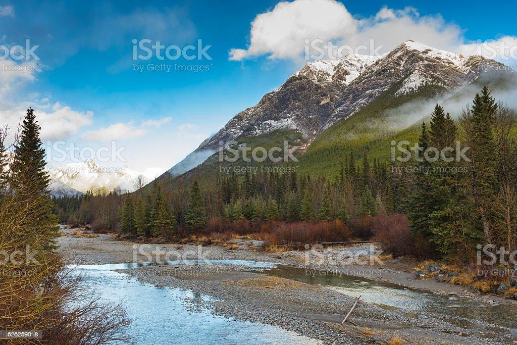Hiking Lake Agnes stock photo