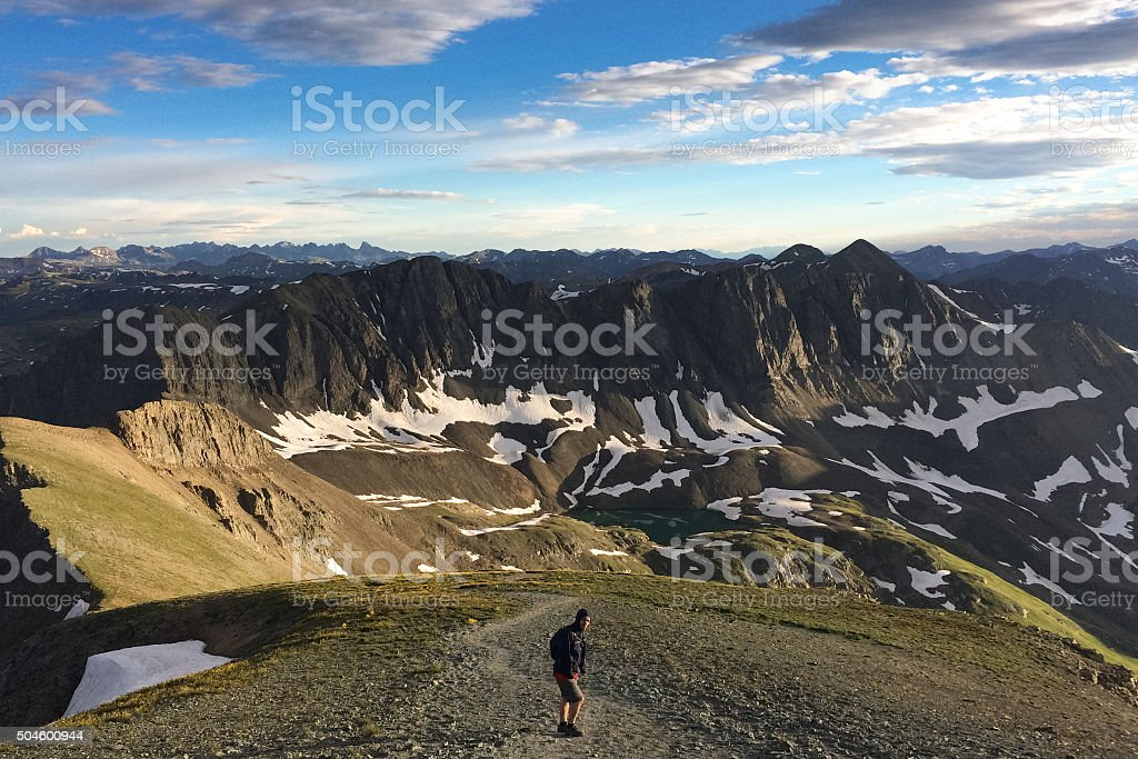 hiking landscape mountains stock photo