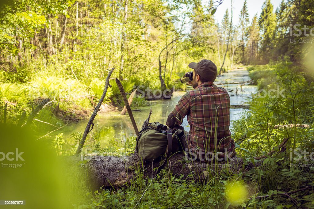 Hiking Man Spending Time Alone in Nature stock photo