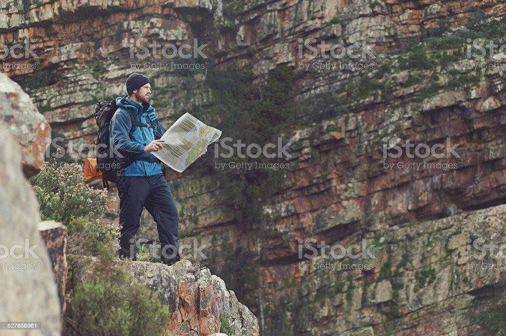 hiking map man stock photo
