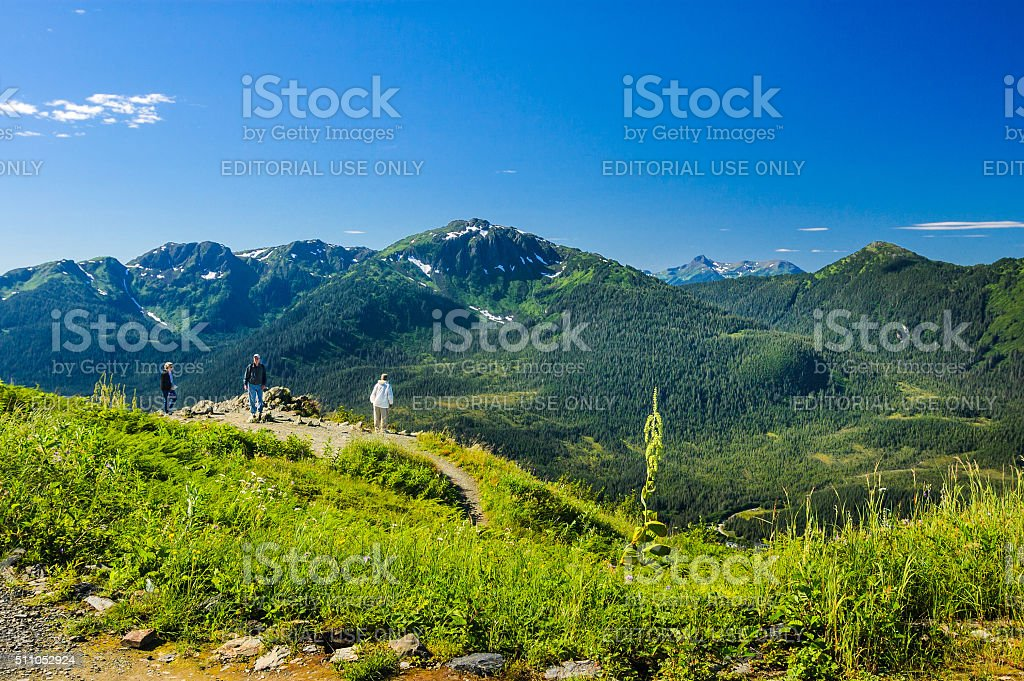 Hiking Mount Roberts stock photo