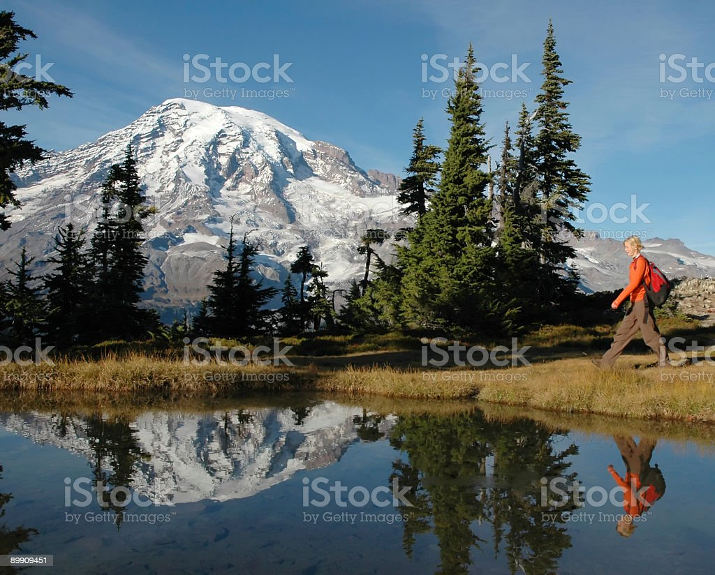 Hiking Mt. Rainier royalty-free stock photo