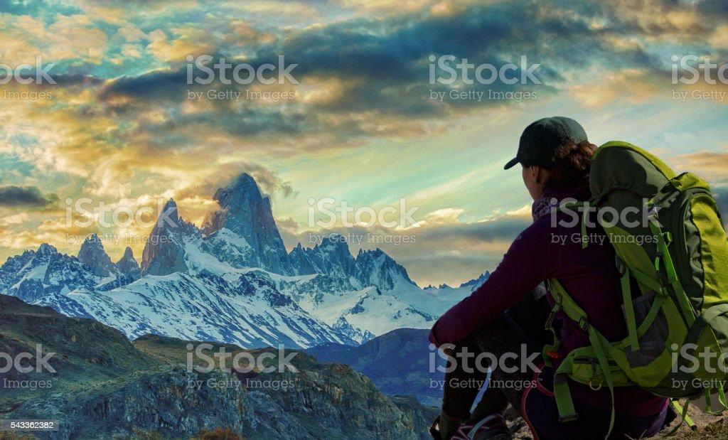 Hiking near Mt Fitzroy stock photo