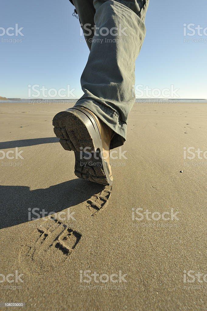 Hiking on a Beach, Nova Scotia. stock photo