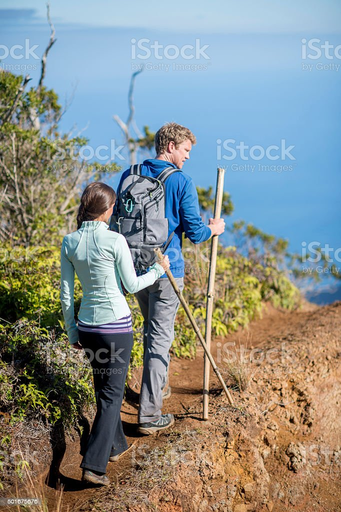 Hiking on a Mountain Trail in Hawaii stock photo