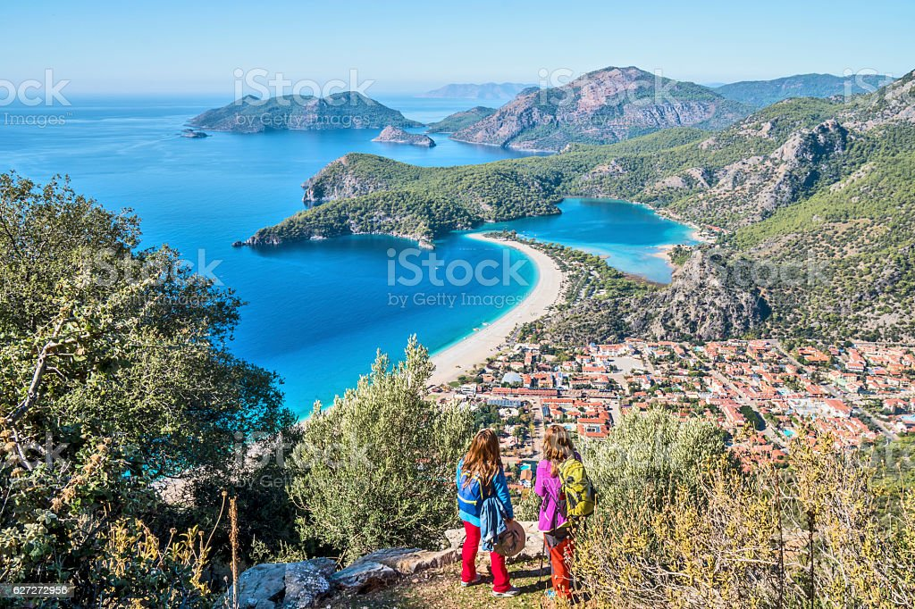 Hiking on Ancient lycian Way. stock photo