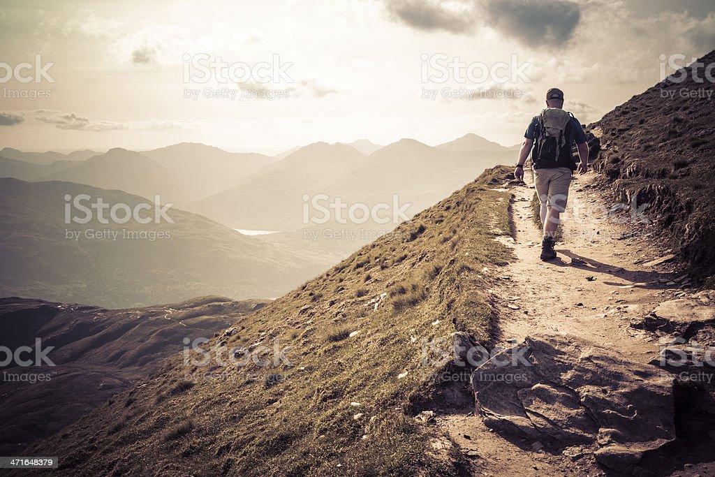Hiking on Ben Lomond stock photo