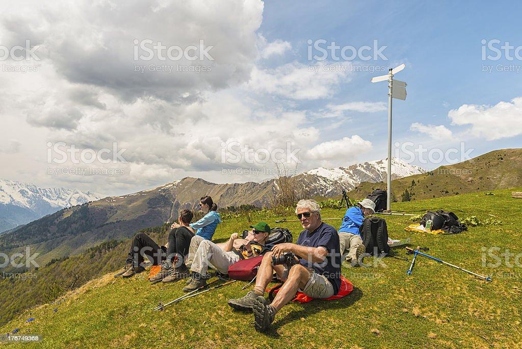 Hiking on mount Mestia stock photo