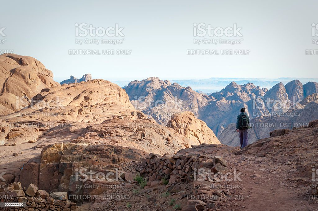 Hiking on Mount Sinai stock photo