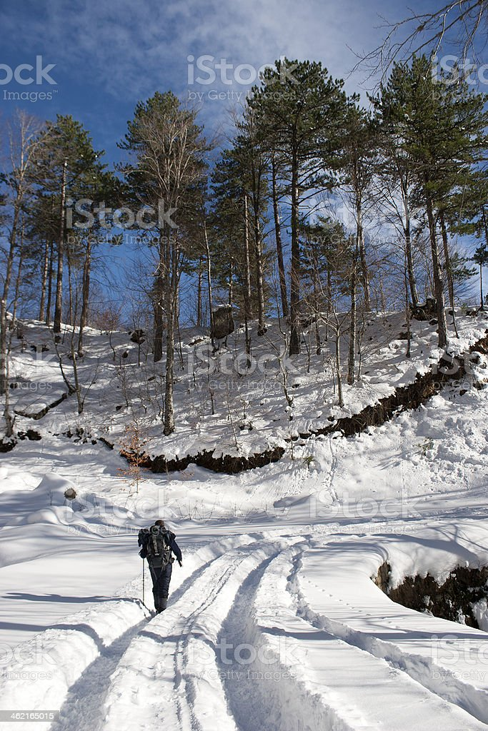 hiking on snow stock photo