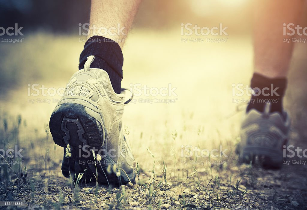 Hiking on the footpath royalty-free stock photo