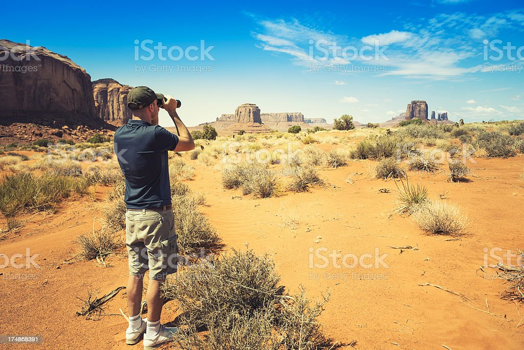 Hiking on the Monument valley royalty-free stock photo