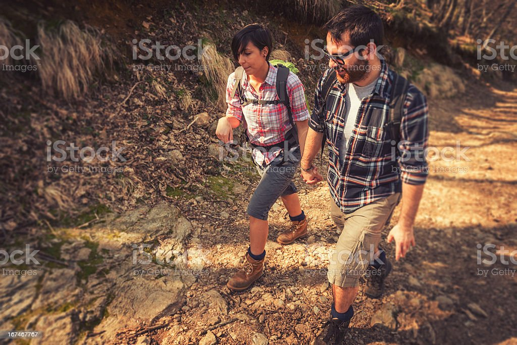 Hiking on the mountain royalty-free stock photo