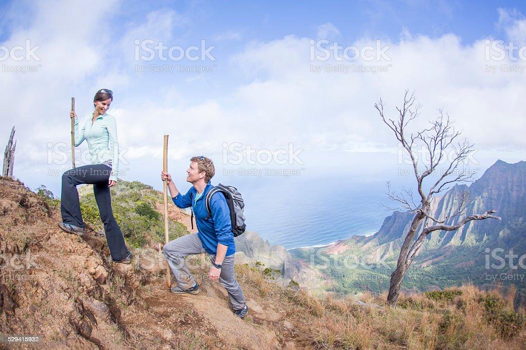Hiking on Their Honeymoon stock photo