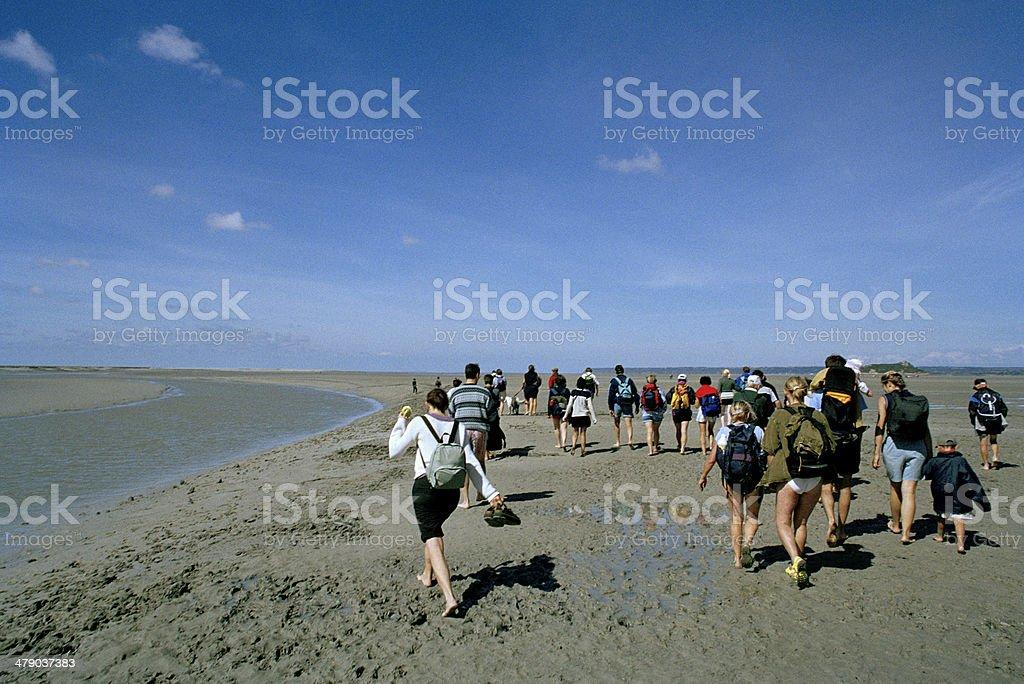 Hiking On Tidal Flats stock photo