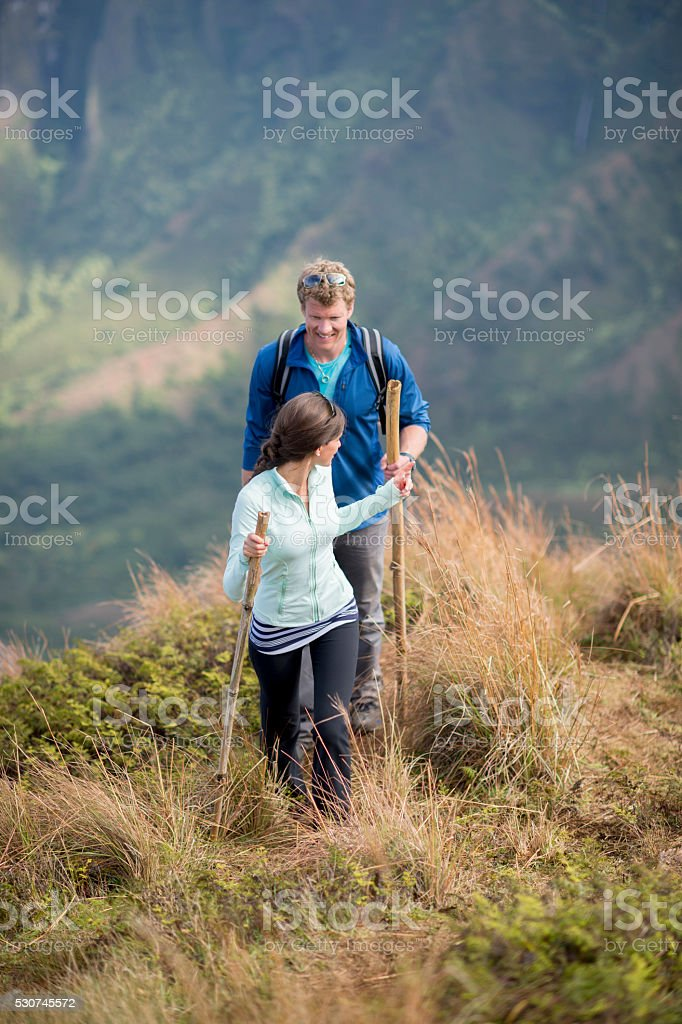 Hiking on Vacation in Hawaii stock photo