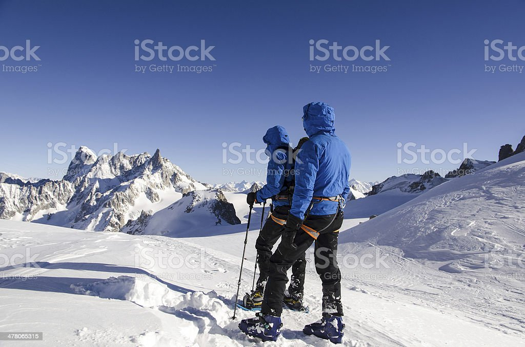 Hiking on Vallee Blanche stock photo