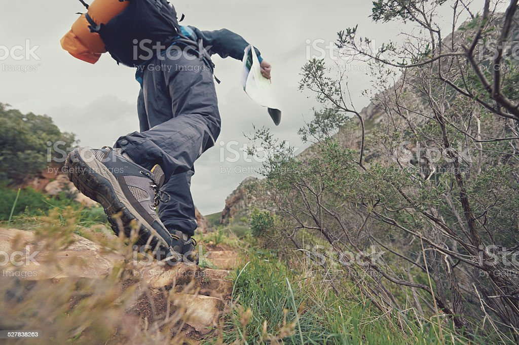 hiking outdoors stock photo