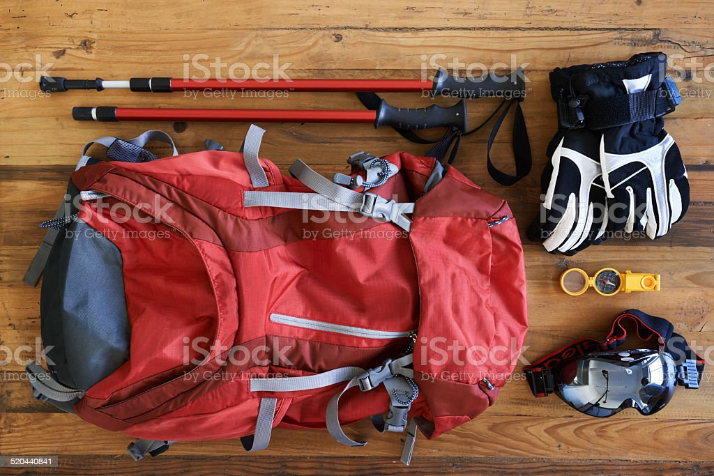 Hiking paraphernalia stock photo