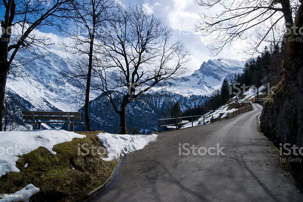 Hiking Path from Murren to Gimmelwald, Switzerland stock photo