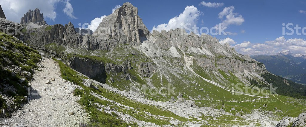 Hiking path in the Dolomites stock photo