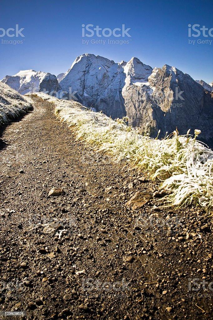 Hiking path in winter stock photo