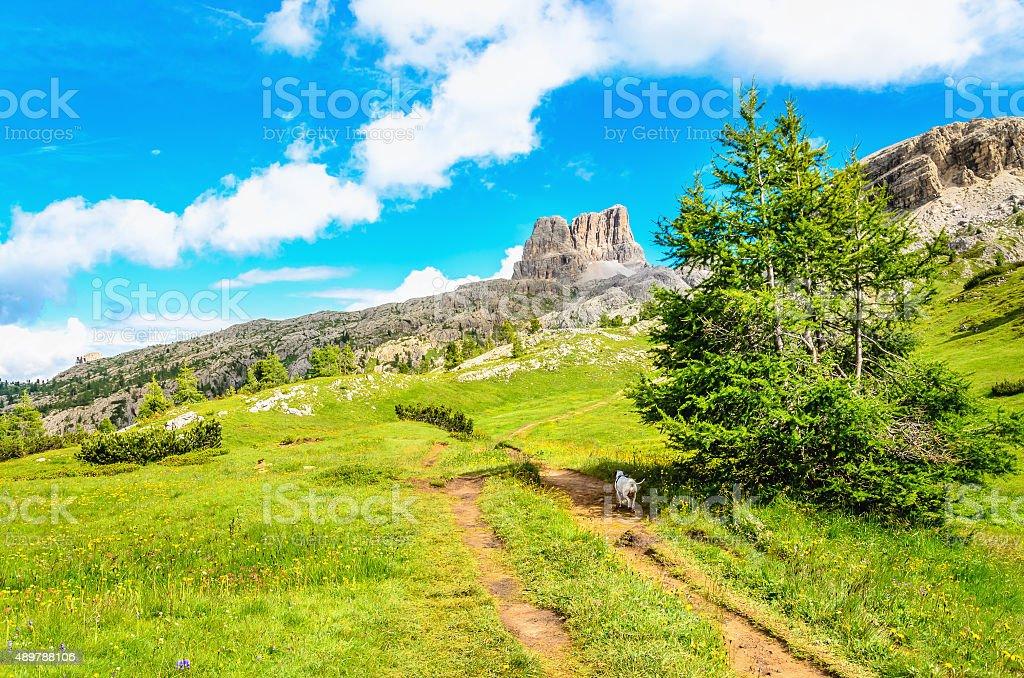 Hiking path to Monte Averau in Dolomites, Italy stock photo