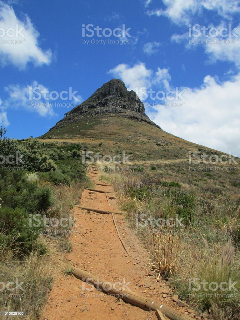 hiking path up to Lions head in Capetown stock photo