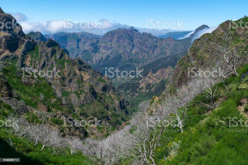 Hiking Pico do Arierio, Pico Ruivo, Madeira, Portugal stock photo