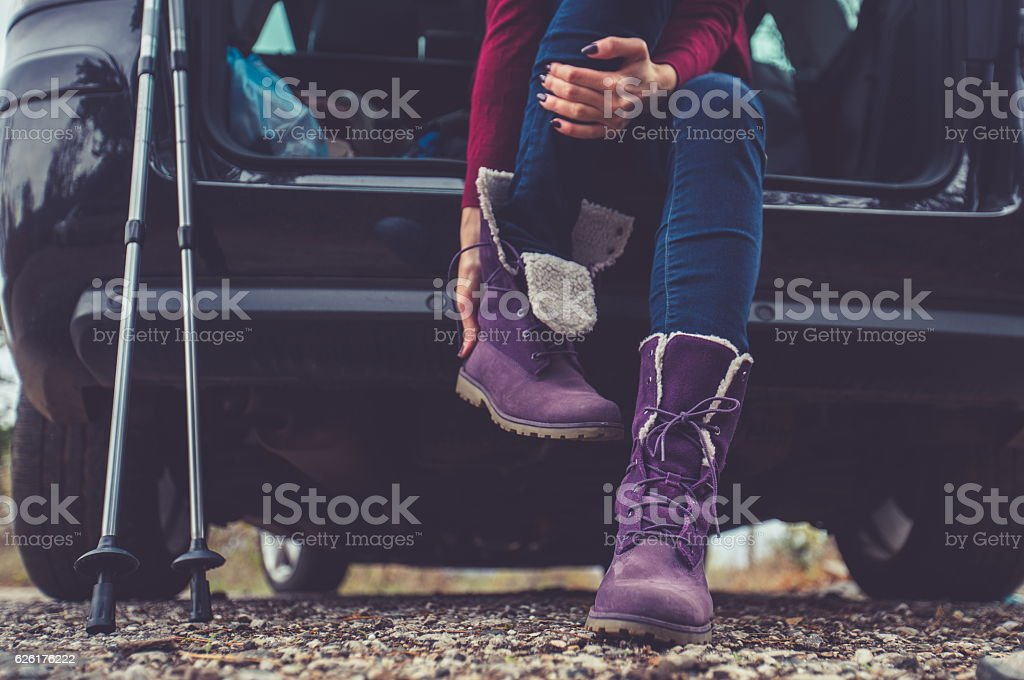 Hiking preparations stock photo