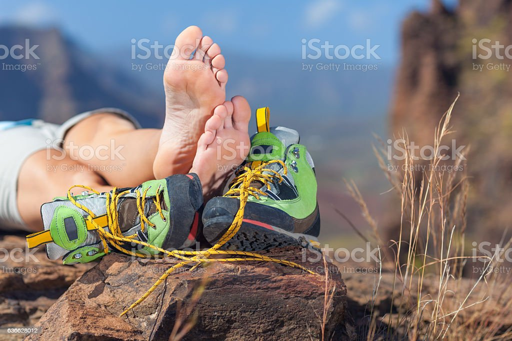 hiking rest stock photo
