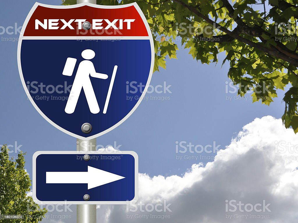Hiking road sign royalty-free stock photo