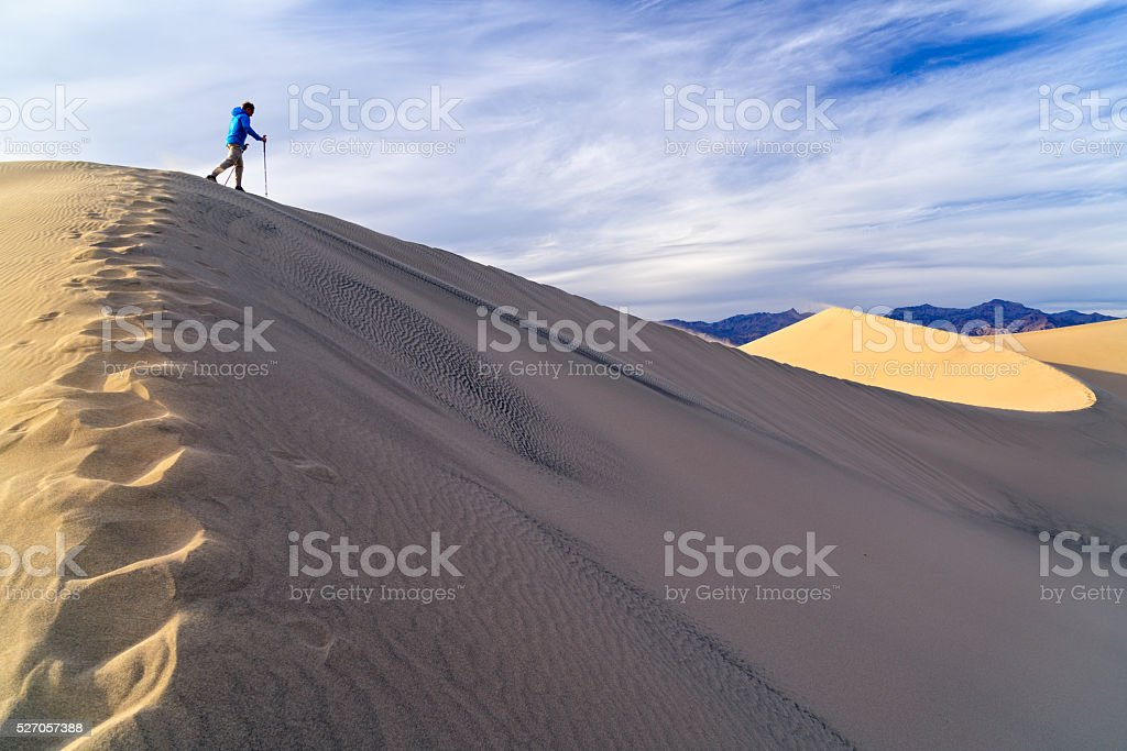 Hiking Sand Dunes in Death Valley stock photo