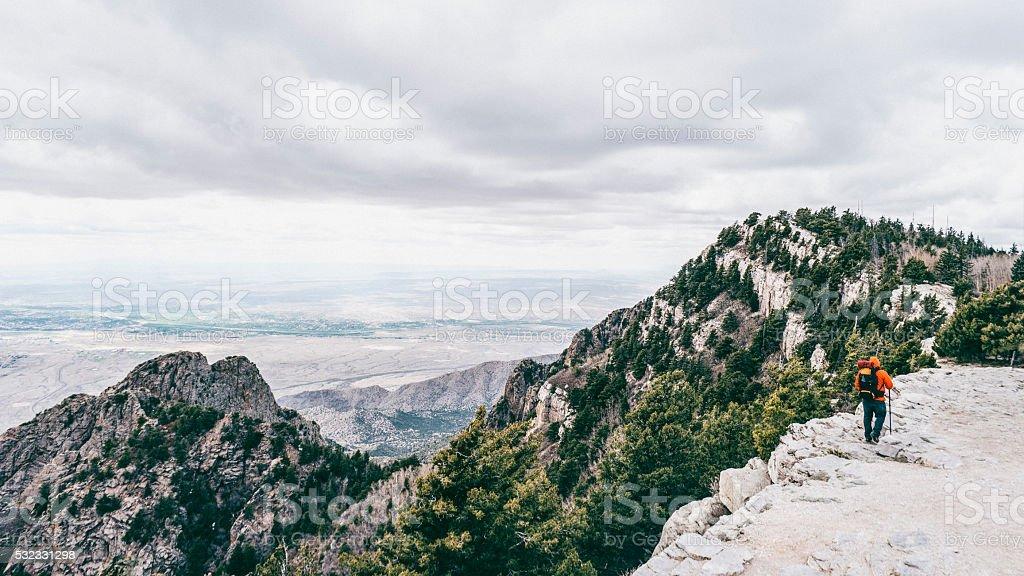 Hiking Sandia Mountains in New Mexico. stock photo