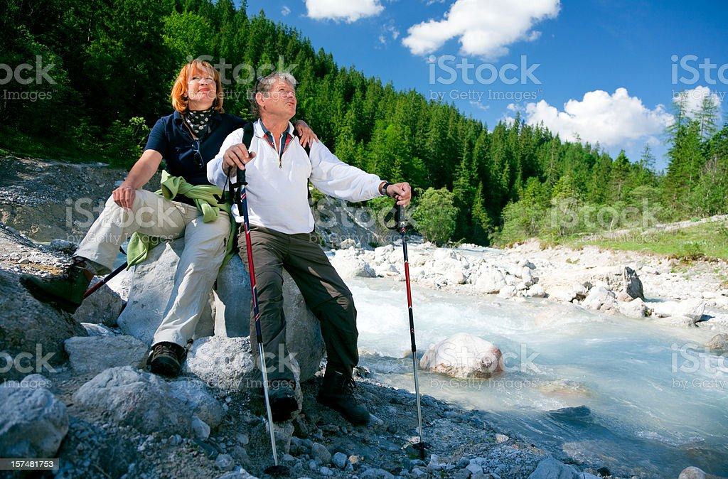 hiking seniors royalty-free stock photo