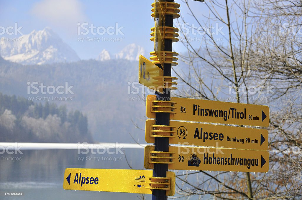 Hiking sign in Bavarian Alps royalty-free stock photo