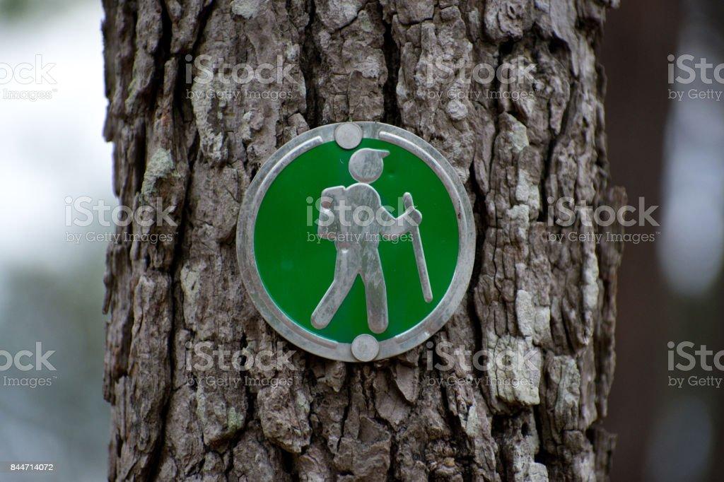 Hiking Sign stock photo